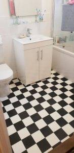 black and white flooring in bathroom