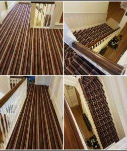 striped carpet staircase and landing